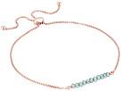 Friendship Adjustable Bracelet 14KT Rose Gold Plated Sterling Silver and Coated Quartz