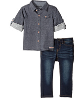Hudson Kids - Two-Piece Striped French Terry Shirt Indigo Knit Denim Pants (Infant)