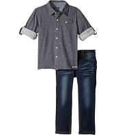 Hudson Kids - Two-Piece Striped French Terry Shirt Indigo Knit Denim Pants (Toddler)