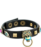 Betsey Johnson - Tiger and Gold Station Black Leather Bracelet