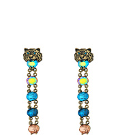 Betsey Johnson - Multicolor and Gold Tiger Linear Clip Earrings