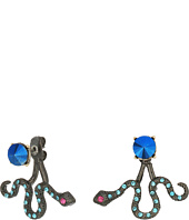 Betsey Johnson - Blue and Gold Snake Front Back Earrings