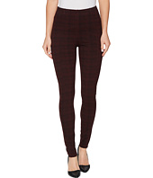 Liverpool - Reese Ankle Leggings with Slimming Waist Panel in Texture Plaid Ponte Knit in Petite Syrah