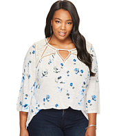 Lucky Brand - Plus Size Floral Lace Mix Peasant Top