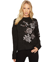 Blank NYC - Floral Embroidered Grey Sweater in Charcoal
