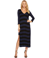 Three Dots - Featherweight Stripe Double V-Neck Dress