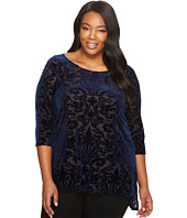 Karen Kane Plus - Plus Size Velvet Burnout Slit Top