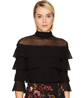 FUZZI - 3/4 Sleeve Mesh Turtleneck Multi Ruffle