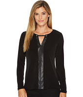Calvin Klein - Long Sleeve Top with Faux Leather