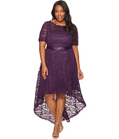 Adrianna Papell - Plus Size Short Sleeve Lace Dress with High-Low Hem
