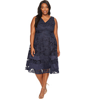 Adrianna Papell - Plus Size Burnout Fit and Flare Dress