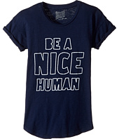The Original Retro Brand Kids - Be A Nice Human Rolled Short Sleeve Slub Crew (Big Kids)