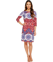 London Times - Imperial Tile 3/4 Sleeve Shift Dress
