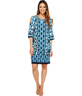 London Times - Tribal Tile Keyhole Raglan Shift Dress
