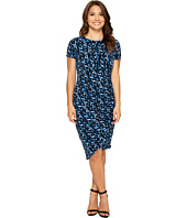 London Times - Petite Abstract Fleece Side Ruched Sheath Dress