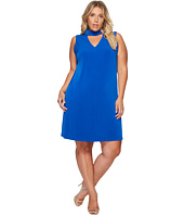 London Times - Plus Size Sleeveless V-Neck Shift Dress w/ Mock Collar