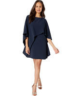 Halston Heritage - Flyaway Sleeve Boatneck Asymmetrical Drape Dress