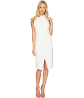 Halston Heritage - Sleeveless Mock Neck Draped Front Dress