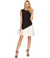 Halston Heritage - Cap Sleeve Round Neck Colorblocked Dress