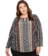 NIC+ZOE - Plus Size Color Streaks Keyhole Top