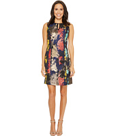 Ellen Tracy - Jacquard Dress with Embellished Neckline