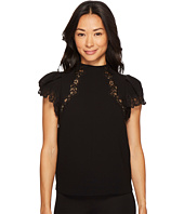 Rebecca Taylor - Short Sleeve Crepe Lace Top