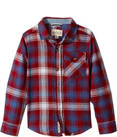 Lucky Brand Kids - Long Sleeve Plaid Shirt Chambray Elbow (Little Kids/Big Kids)