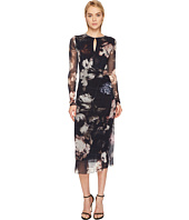 FUZZI - Long Sleeve Printed Dress with Keyhole Detail Cover-Up