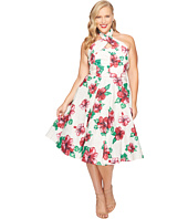 Unique Vintage - Plus Size Halter Flora Swing Dress