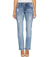 Jag Jeans Petite - Petite Adrian Straight Jeans in Crosshatch Denim in Mid Vintage
