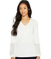 Calvin Klein - V-Neck Blouse with Chiffon Cuff