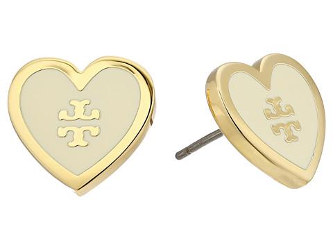 Tory Burch Lacquered Logo Heart Stud Earrings
