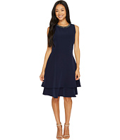 Taylor - Tiered Crepe Fit and Flare w/ Embellished Neck