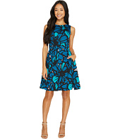 Taylor - Flower Printed Scuba Fit-and-Flare