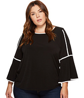 Calvin Klein Plus - Plus Size Bell Sleeve Top with Tipping