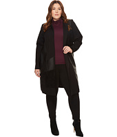 Calvin Klein Plus - Plus Size Long Jacket with Suede and Faux Leather
