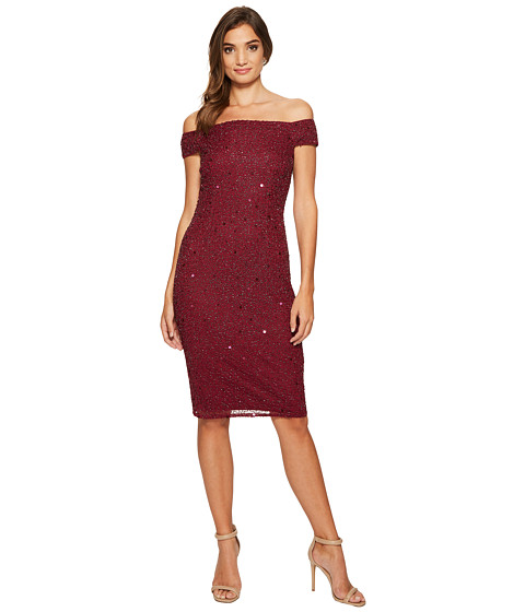 Adrianna Papell Off the Shoulder Beaded Sheath Dress