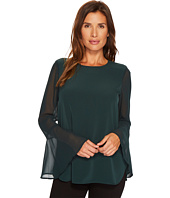 Calvin Klein - Long Sleeve Solid Blouse with Flare Sleeve