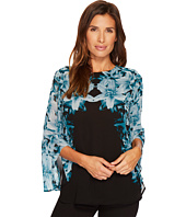 Calvin Klein - Long Sleeve Printed Blouse with Ruffle Sleeve