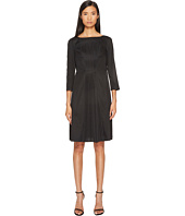 Jil Sander Navy - Boat Neck 3/4 Sleeve Dress with Pleated Skirt