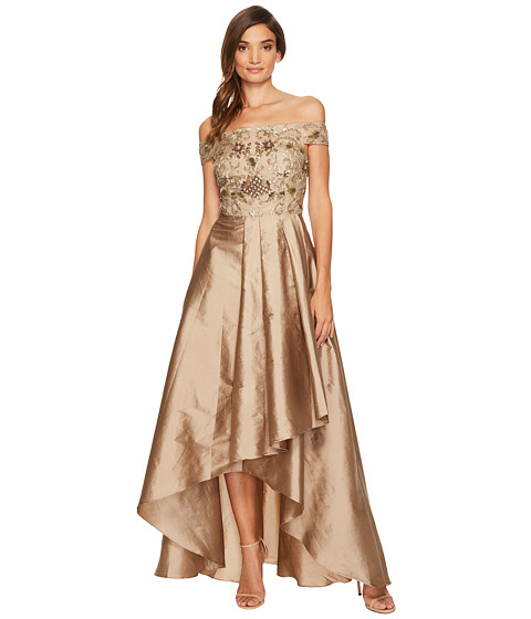 Adrianna Papell Beaded Off the Shoulder Gown with High-Low Taffetta Skirt