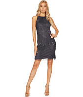 Adrianna Papell - Fully Beaded Sleeveless Halter Cocktail Dress