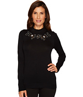 Ivanka Trump - Mock Neck Cut Out Embriodered Sweater