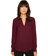 Ivanka Trump - Long Sleeve Georgette Blouse with Hook and Eye Closure