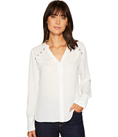 Ivanka Trump - Woven Button Blouse with Grommets