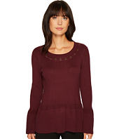 Ivanka Trump - Crew Neck Grommet Peplum Sweater