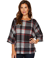Nally & Millie - Plaid Print Brush Sweater Top