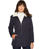 Kenneth Cole New York - Quilted Chevron Coat with Fur Hood