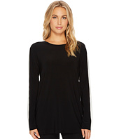 KAMALIKULTURE by Norma Kamali - Side Stripe Long Sleeve Crew Top