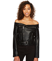 ROMEO & JULIET COUTURE - Off Shoulder PU Rider Jacket